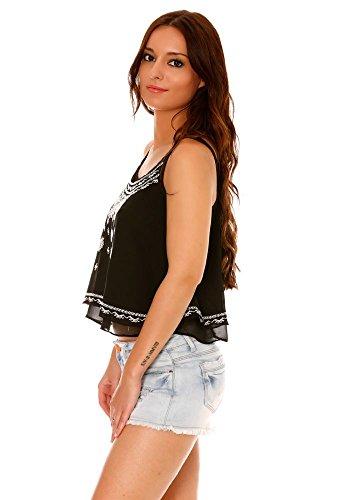 dmarkevous - Top court femme noir à fines bretelles, avec volants et broderies blanches. Noir