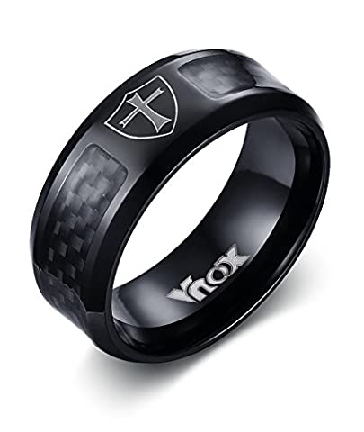 Vnox Men's Stainless Steel Carbon Fibre Shield of Faith Cross Band Ring Black,8mm Width,UK Size T 1/2