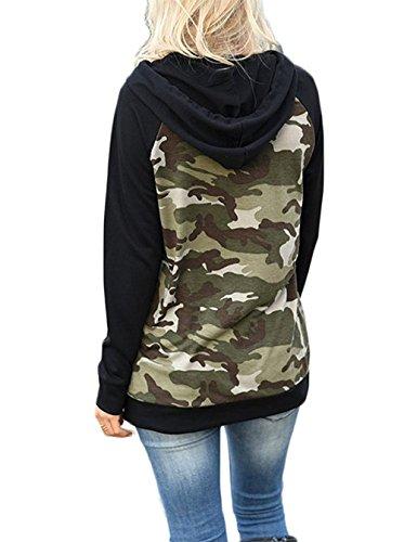 Felpa Donna Con Cappuccio Pullover Hoodie Manica Lunga Camuffamento Sweatshirt Sciolto Hiphop Streetwear Hoody Tasche Coulisse Autunno E Inverno Moda Sportiva Army Green