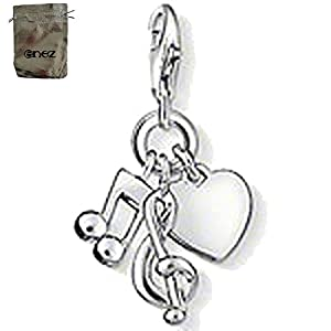 Enez Echt 925 Silber Anhänger Charms Charm Herz-Note (1,8 x 1,0cm) + Geschenkbeutel T481a