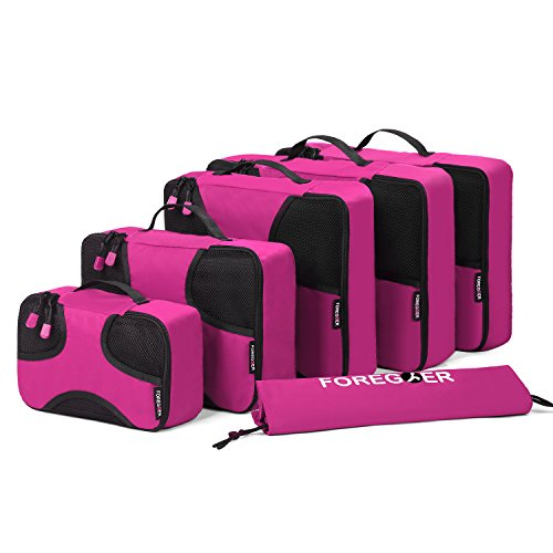 foregoer-6-set-packing-cubes-travel-luggage-organizers-with-laundry-bag-rose-red