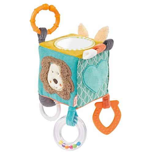 Fehn 066029 Activity-Würfel Funky Friends - Motorikspielzeug zum Aufhängen - Für Babys und Kleinkinder ab 0+ Monaten - Maße: 10 x 10 cm