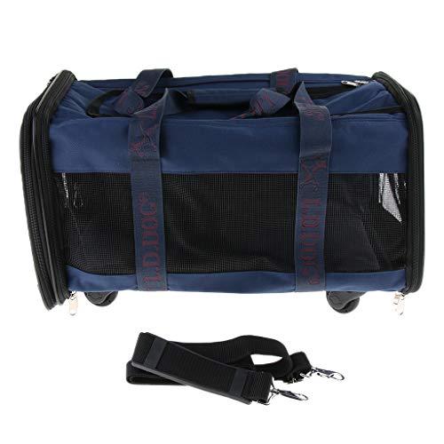 non-brand Sharplace Trasportino per Cani Gabbia da Trasporto con Ruote Pieghevole e Traspirante del Animali Domestici - Blu