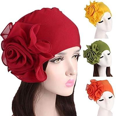 TITAP 2018 Newest Women Lady Retro Big Flowers Hat Turban Brim Hat Cap Pile Cap