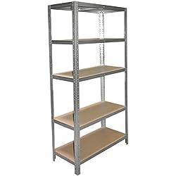 shelfplaza® HOME Étagère charge lourde métallique galvanisé de 200x60x40 cm avec 5 tablettes - entrepôts garage grenier atelier maison