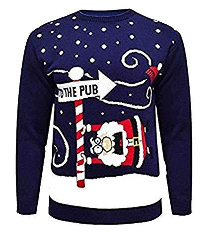 Uomo Natale novità Maglia Renne al Pub Xmas Jumper Sweater Top S-2XL (Medium, Navy)