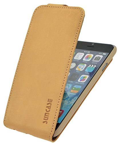 iPhone 6 / 6s (4.7 Zoll) Original Suncase® Flip-Style (Slim-Fit) Ledertasche Leder Etui Tasche Handytasche Schutzhülle Case Hülle (mit Kartenfach) schwarz-veloursleder antik-camel