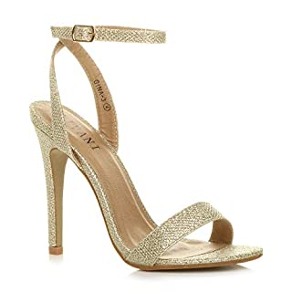 Ajvani Womens Ladies high Heel Ankle Strap Barely There Strappy Sandals Shoes - Gold Mesh Glitter - 5 UK