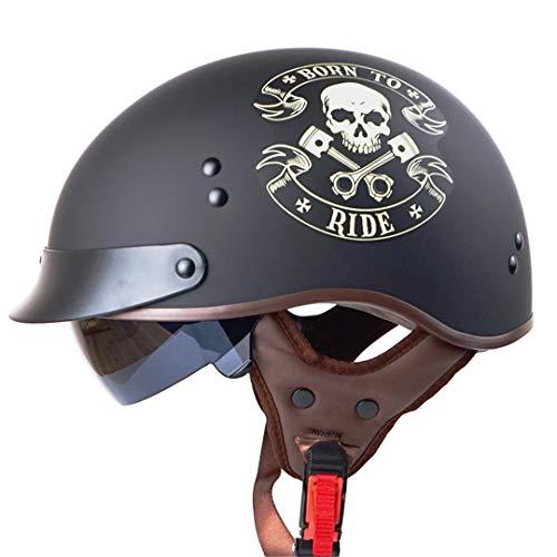 Marktos Open Face Harley Moycle Helme mit Innen Sunny Objektiv Echtleder Pad Half Face Vintage Roller Retro Helme Born to Ride XXL