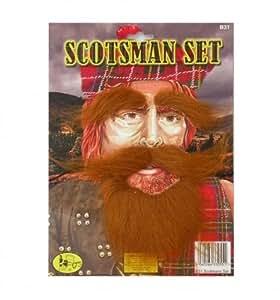 Scotsman Ginger Beard Moustache & Eyebrow Set