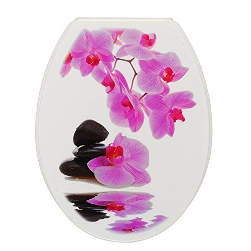 IGOERTZ Kunststoff WC Sitz Motiv Design ZEN FLOWER Kompakt Standard WC