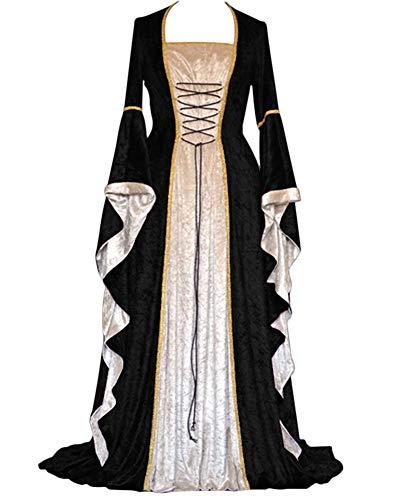GladiolusA Damen Langarm Renaissance Mittelalter Kleid Viktorianischen Königin Kostüm Maxikleid Schwarz S