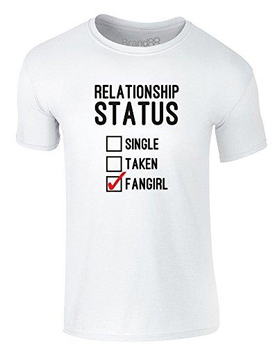 Brand88 - Relationship Status: Fangirl, Erwachsene Gedrucktes T-Shirt Weiß/Schwarz