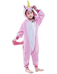 Licorne Pyjama Kiguruma Combinaison Vêtement de Nuit Cosplay Costume Déguisement Unicorn pour Enfant Unisex