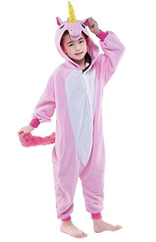 Ensemble de Pyjama Grenouillère Costume Cosplay Onesie Animaux en Flanelle Fille Garçon Cadeau Noel (Hauteur 120-130cm(Etiquette Tailleur105), Unicorn Rose)