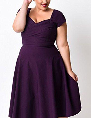 Modetrend Femmes Robe Rétro Vintage Manches Court Mi-Longues Robe 50s Robe de Soirée Cérémonie Robe Grand Taille Violet