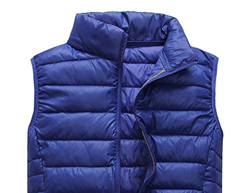 Panegy Unisex Weste Winter Damenweste Slim Ärmellos Baumwolle Herrenweste Einfarbig Zip Up Outwear Daunen Westen Herbst Steppweste Vest (Farbe Größe Wählbar) Blau