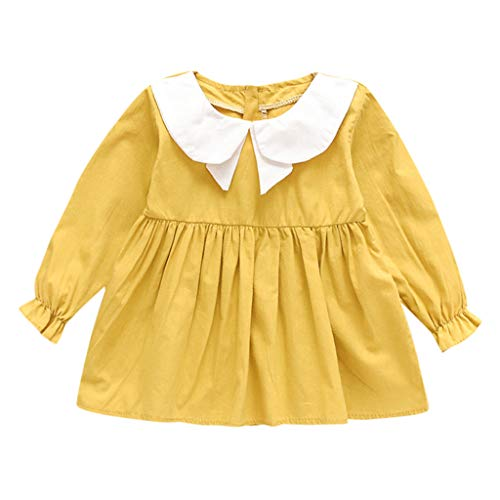 Winkey Mädchenrock, Kinderbabyreverskarikatur Beflügelt Langärmliges Festes Gekräuseltes Parteiprinzessinkleid -