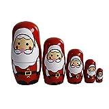 OJIN 5pcs Carino Natale Fatto a Mano Bambola di nidificazione Russa Set di Giochi Autentici accatastamento in Legno Collezione di Bambole Decorazione (Style 1)