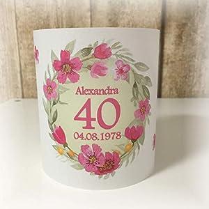 4er Set Tischlicht Tischlichter Kranz Blumen runder Geburtstag 40 50 60 70 80 90 Tischdeko personalisierbar pink lindgrün