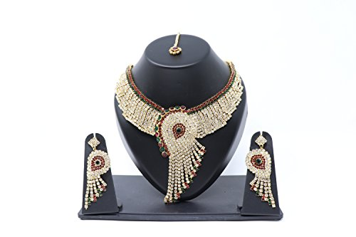Crown Inglis Lady Natural Traditional Immitation Jewellery Gold American Diamond Plated Golden Brass Earrings Drop Earring Imitation Stone Mangalsutra Necklace Set Black Bead Chain for Women