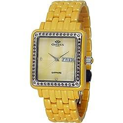 Oniss Women's Finesse Ceramic Yellow Ceramic Case Sapphire Crystal Swiss Quartz Watch ON7700-L/YW/YW/BN