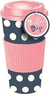 rosa blau gepunktete thermo isolierte tee kaffee tasse reisebecher mit deckel. Black Bedroom Furniture Sets. Home Design Ideas