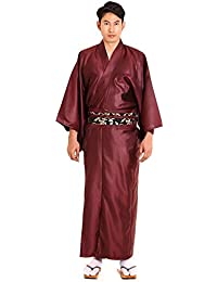 Japanischer Herren Samurai Yukata Kimono Morgenmantel Baumwolle Satin M L XL (Weinrot)