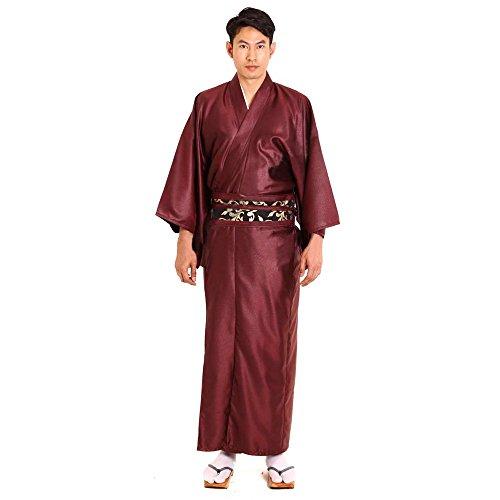 Japanischer Herren Samurai Yukata Kimono Morgenmantel Baumwolle Satin M L XL (Den Japanischen Karate Kostüm)