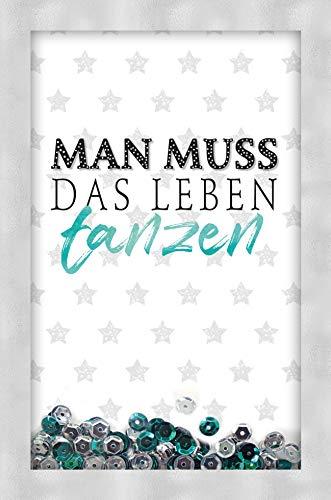 Geburtstagskarte, Geburtstagskarte lustig, Karte mit Klarsichtfenster und Pailetten, B6 mit Umschlag, Motiv: Tanzen