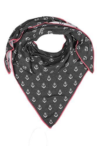Zwillingsherz Dreieckstuch mit Baumwolle - Hochwertiger Schal mit Anker Print für Damen Jungen Mädchen - XXL Hals-Tuch und Damenschal - Strick-Waren - für Winter Sommer von Cashmere Dreams gra/pin (Gras Anker)