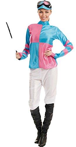 Faschingsfete Damen Karneval Kostüm Jockey Girl, Hellblau, Größe XL