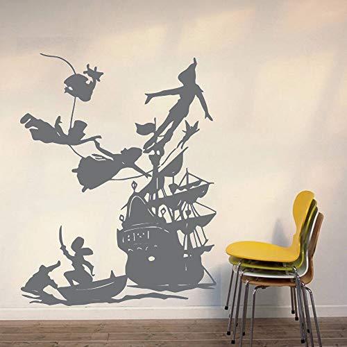 Peter Pan Tatuajes de Pared Sueño de Dibujos Animados Calcomanías Piratas Barco Decoración de la Pared Etiqueta Niños habitación Dormitorio calcomanías de Vinilo a Prueba de Agua 73 * 57 cm
