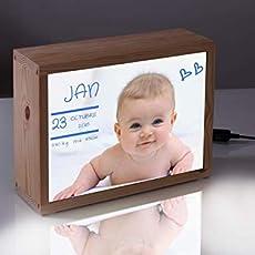 Caja de luz con foto del bebé, el mejor regalo personalizado para un recién.