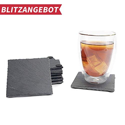 Rechteckig Set Kaffee-tisch (Sweese 3403 Schiefer Untersetzer Set 8 teilig 10x10cm Tisch Untersetzer Servierplatten, 4 Gummifüße)