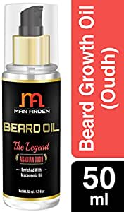 Man Arden Beard & Mustache Legend Oudh Hair Growth Oil - With Olive, Macademia, Almond, Avocado Oil - 50 ml