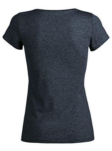 Bayrisches Damen Trachten T-shirt I BIN VOM DORF - Trachtenmode - Dirndl-Shirt - Oktoberfest Dirndlbluse - Wiesn-Mode DarkHeaDenim-Braun