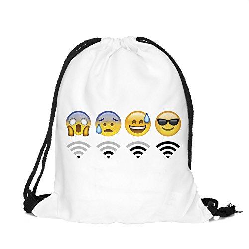Beutel WiFi Emoticons Emoji Smileys Beutel Jutebeutel Turnbeutel Sporttasche Hipster Sack Gymbag (Weiß)