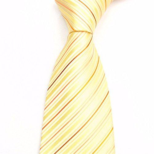 95349e907452a HXCMAN 8cm jaune À rayures cravate design classique hommes 100% soie boite  cadeau