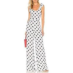 MINXINWY/_Vestido de mujer Vestido de Fiesta Mujer Casual Moda Lunares Impreso Vestido de Noche Largos sin Mangas Verano Elegante