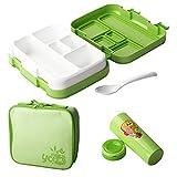 Augproveshak Kids Bento Box Lunchbox mit 5 Fächern, BPA-frei, auslaufsicher, für Kinder, mit Löffel, Lunch Paket und Wasserflascheideal für Schule Picknick, Reisen (Grün, 5 Fächern C)