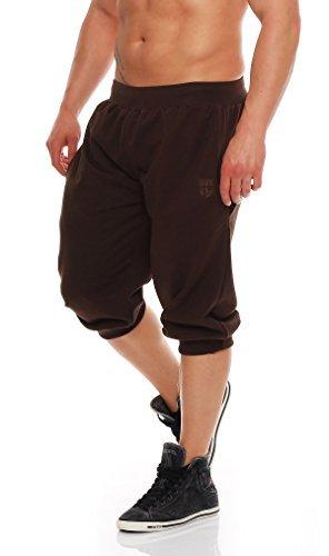Gennadi Hoppe Herren 3/4 Trainingshose Jogginghose Bermuda Pant (3XL, braun)