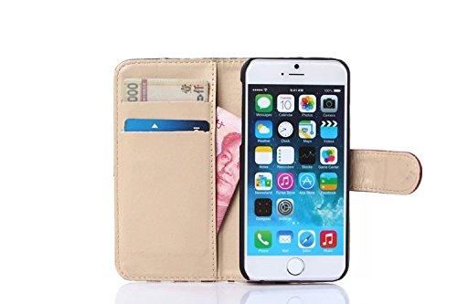 Aeontop 4 en 1 Mappa del mondo disegno Custodia in pelle Protettiva Cuoio Portafoglio Flip Cover per Apple iPhone 6 4.7 / iphone 6S 4.7 con carta di credito slot e chiusura magnetica , Pellicola di P modello 08