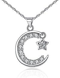 Jessibox Collier avec Pendentif «Nuit étoilée» avec inscription «Je t'aime» sur le côté en argent 925 et oxyde de zirconium