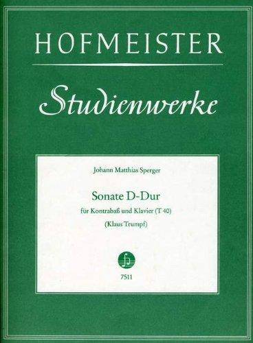 SONATE D-DUR - arrangiert für Kontrabass - Klavier [Noten / Sheetmusic] Komponist: SPERGER JOHANN MATTHIAS