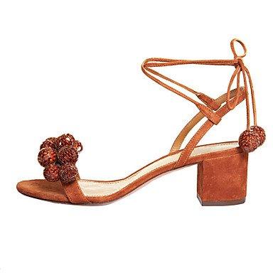 LFNLYX Donna Sandali Primavera Estate Autunno scarpe Club cinturino alla caviglia vello party di nozze & abito da sera Chunky Heel Sequin pom-pom blu beige marrone Beige