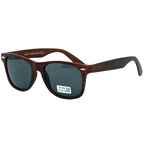 Freak Scene® Wayfarer Sonnenbrille Holz-Stil Kultbrille ° Klassiker Brille ° Farbe: braun