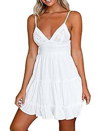 Longra ★ Vestido de verano retro con cuello en V de una línea sin mangas con atadura en la espalda Vestido de playa Vestido de tirantes