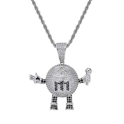 k Mikrofon Anhänger Halskette mit Glitzer CZ Geschenk für Sänger eingelegt,Silver ()