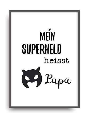 (Kunstdruck SUPERHELD PAPA Poster Bild Print ungerahmt DIN A4)